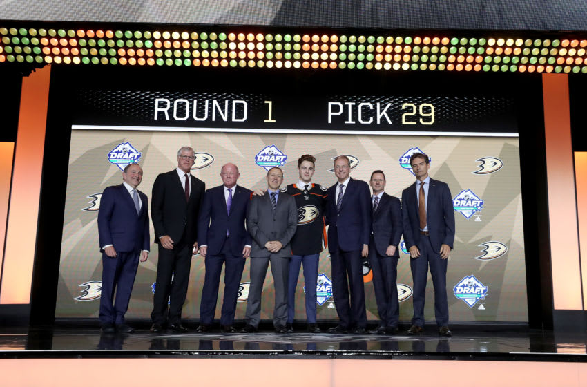 VANCOUVER, BRITISH COLUMBIA - JUNE 21: Brayden Tracey reacts after being selected twenty-ninth overall by the Anaheim Ducks during the first round of the 2019 NHL Draft at Rogers Arena on June 21, 2019 in Vancouver, Canada. (Photo by Bruce Bennett/Getty Images)