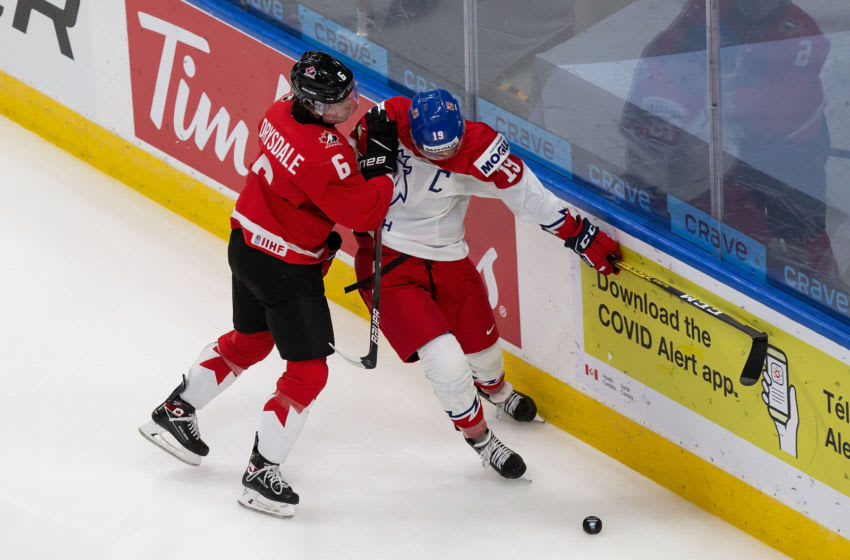 Jamie Drysdale #6 of Canada (Photo by Codie McLachlan/Getty Images)