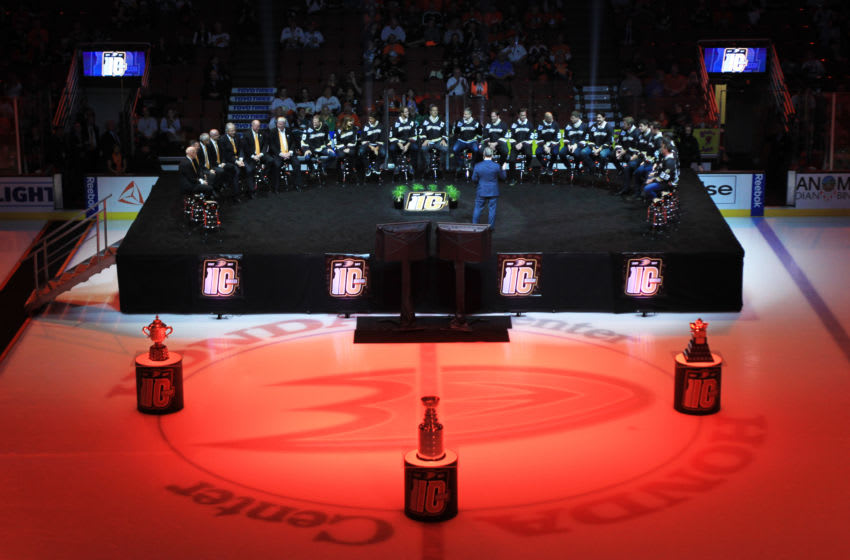 ANAHEIM, CA - MARCH 12: Members of the 2007 Anaheim Ducks Stanley Cup-winning team speak during a 10th anniversary celebration prior to the game against the Washington Capitals on March 12, 2017 at Honda Center in Anaheim, California. (Photo by Debora Robinson/NHLI via Getty Images)