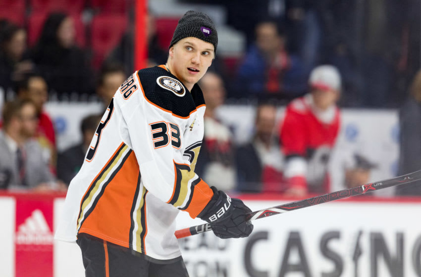 OTTAWA, ON - FEBRUARY 07: Anaheim Ducks Right Wing Jakob Silfverberg (33) wears a DFID (Do It For Daron) hat during warm-up before National Hockey League action between the Anaheim Ducks and Ottawa Senators on February 7, 2019, at Canadian Tire Centre in Ottawa, ON, Canada. (Photo by Richard A. Whittaker/Icon Sportswire via Getty Images)
