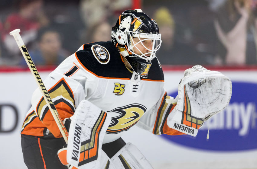 OTTAWA, ON - FEBRUARY 07: Anaheim Ducks Goalie Chad Johnson (1) prepares to make a save during warm-up before National Hockey League action between the Anaheim Ducks and Ottawa Senators on February 7, 2019, at Canadian Tire Centre in Ottawa, ON, Canada. (Photo by Richard A. Whittaker/Icon Sportswire via Getty Images)