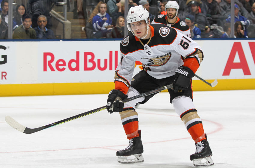 TORONTO, ON - FEBRUARY 7: Troy Terry #61 of the Anaheim Ducks (Photo by Claus Andersen/Getty Images)