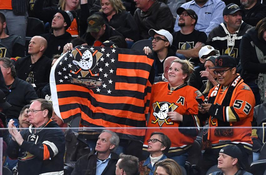 Anaheim Ducks fans celebrate. Mandatory Credit: Stephen R. Sylvanie-USA TODAY Sports