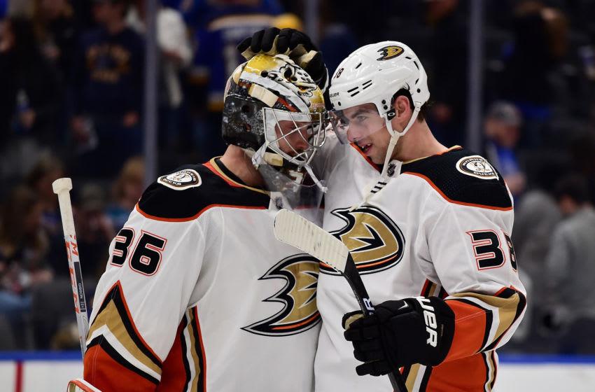 Anaheim Ducks center Derek Grant (38) celebrates with goaltender John Gibson (36) Mandatory Credit: Jeff Curry-USA TODAY Sports