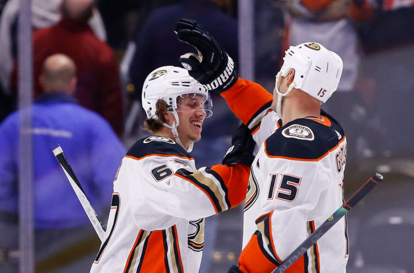 Anaheim Ducks left wing Rickard Rakell (67) celebrates with center Ryan Getzlaf (15) Mandatory Credit: Isaiah J. Downing-USA TODAY Sports