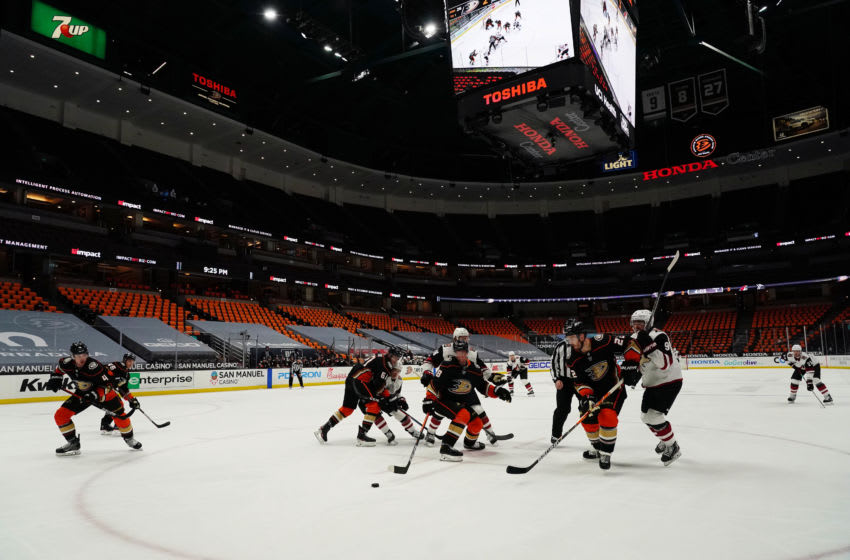 General view of game action between the Anaheim Ducks and Arizona Coyotes Mandatory Credit: Gary A. Vasquez-USA TODAY Sports