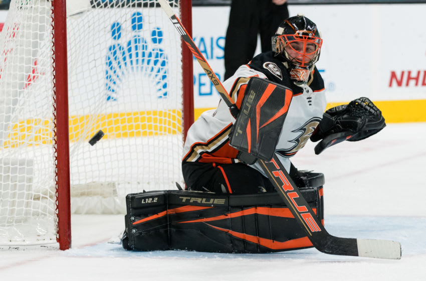 Apr 12, 2021; San Jose, California, USA; Anaheim Ducks goaltender Anthony Stolarz (41) defends the net against the San Jose Sharks in the second period at SAP Center at San Jose. Mandatory Credit: John Hefti-USA TODAY Sports