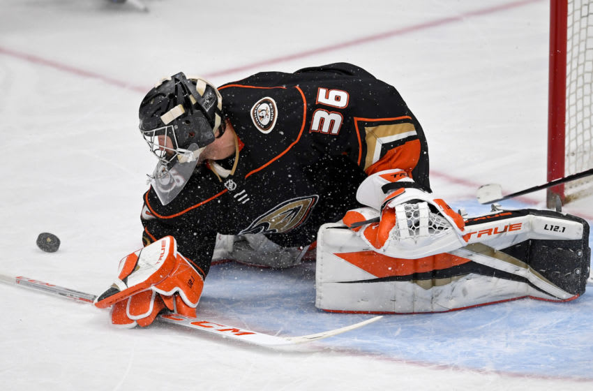 Apr 18, 2021; Anaheim, California, USA; Anaheim Ducks goaltender John Gibson (36) makes a save against the Vegas Golden Knights in the second period at Honda Center. Mandatory Credit: Jayne Kamin-Oncea-USA TODAY Sports