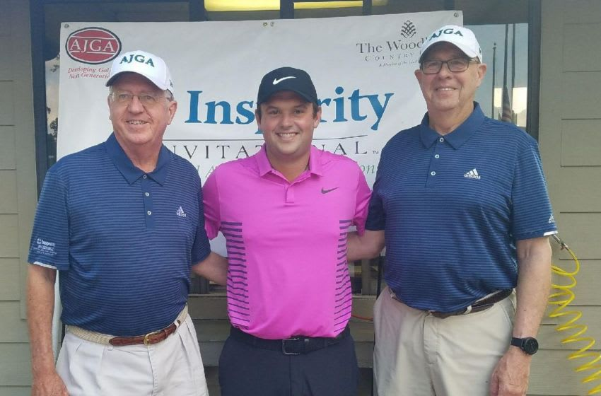 Patrick Reed with Insperity Invitational/Patrick Reed AJGA Junior Championship chairmen Bob Edwards (left) and Bob Lewis (right). Photo c/o PGA TOUR