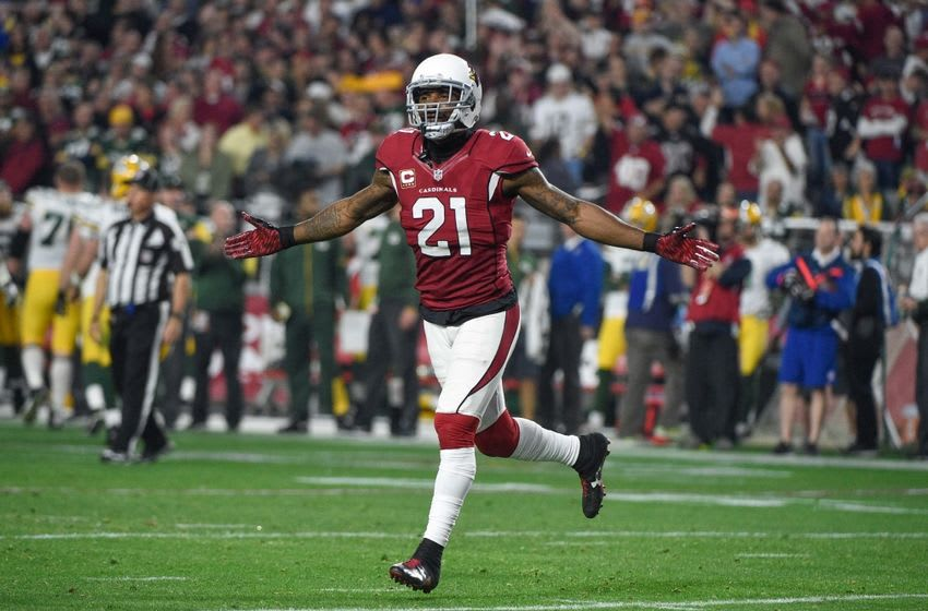 January 16, 2016; Glendale, AZ, USA; Arizona Cardinals cornerback Patrick Peterson (21) celebrates during the fourth quarter in a NFC Divisional round playoff game against the Green Bay Packers at University of Phoenix Stadium. The Cardinals defeated the Packers 26-20 in overtime. Mandatory Credit: Kyle Terada-USA TODAY Sports