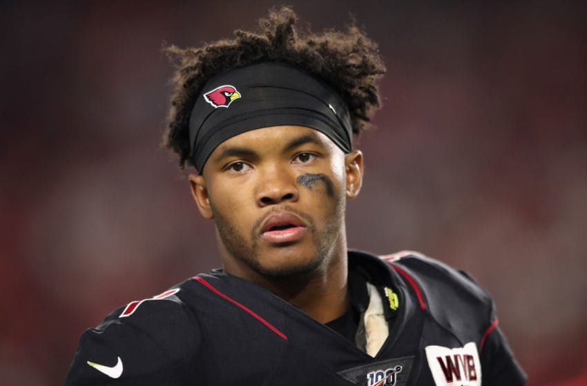 GLENDALE, ARIZONA - OCTOBER 31: Quarterback Kyler Murray #1 of the Arizona Cardinals watches from the sidelines during the second half of the NFL game against the San Francisco 49ers at State Farm Stadium on October 31, 2019 in Glendale, Arizona. The 49ers defeated the Cardinals 28-25. (Photo by Christian Petersen/Getty Images)