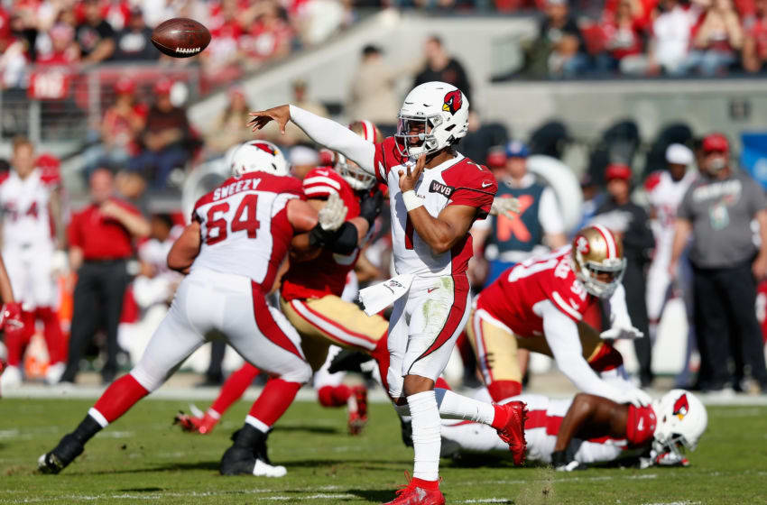 SANTA CLARA, CALIFORNIA - NOVEMBER 17: Quarterback Kyler Murray #1 of the Arizona Cardinals throws a pass during the first half of the NFL game against the San Francisco 49ers at Levi's Stadium on November 17, 2019 in Santa Clara, California. (Photo by Lachlan Cunningham/Getty Images)