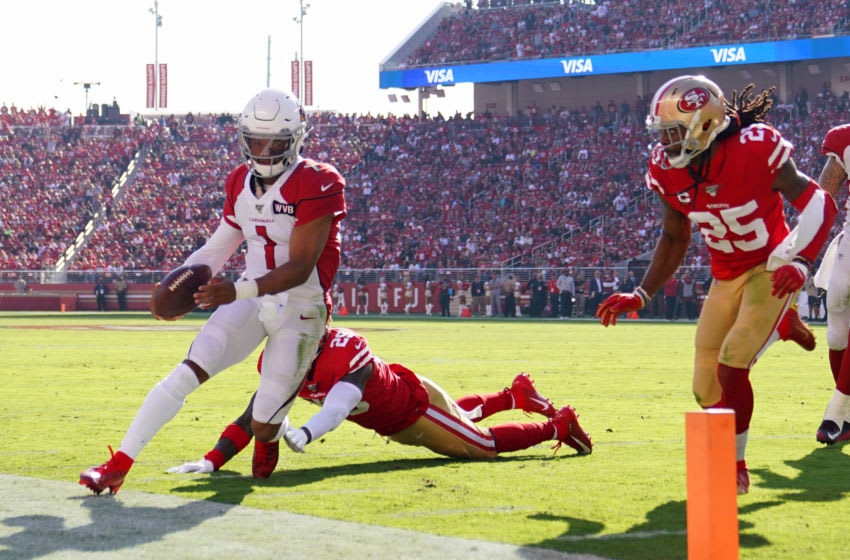 SANTA CLARA, CALIFORNIA - NOVEMBER 17: Quarterback Kyler Murray #1 of the Arizona Cardinals scrambles with the football ahead of safety Jaquiski Tartt #29 of the San Francisco 49ers during the first half of the NFL game at Levi's Stadium on November 17, 2019 in Santa Clara, California. (Photo by Thearon W. Henderson/Getty Images)