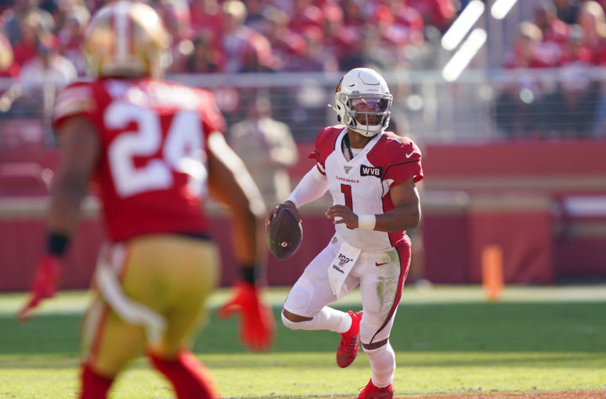 SANTA CLARA, CALIFORNIA - NOVEMBER 17: Kyler Murray #1 of the Arizona Cardinals drops back to pass against the San Francisco 49ers during the first half of an NFL football game at Levi's Stadium on November 17, 2019 in Santa Clara, California. (Photo by Thearon W. Henderson/Getty Images)
