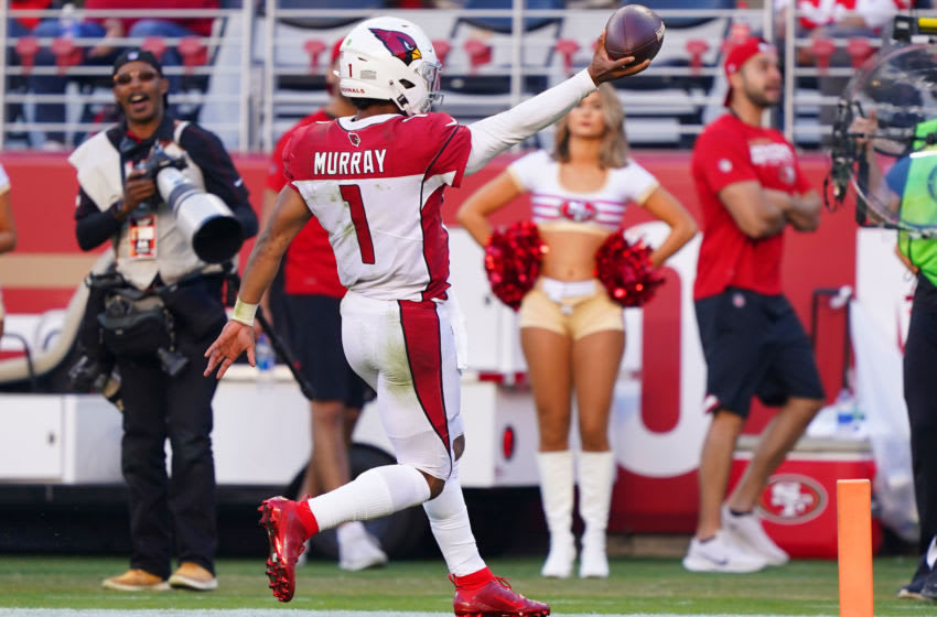 SANTA CLARA, CALIFORNIA - NOVEMBER 17: Quarterback Kyler Murray #1 of the Arizona Cardinals is celebrates after scoring on a 22 rushing touchdown against the San Francisco 49ers during the second half of the NFL game at Levi's Stadium on November 17, 2019 in Santa Clara, California. (Photo by Thearon W. Henderson/Getty Images)