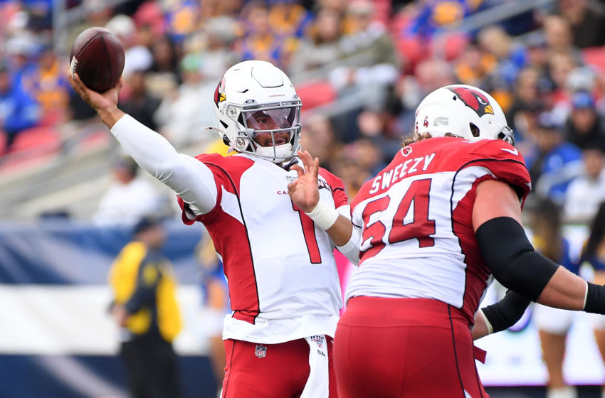 LOS ANGELES, CA - DECEMBER 29: Quarterback Kyler Murray #1 throws a touchdown pass to tight end Dan Arnold #82 of the Arizona Cardinals in the first quarter of the game against the Los Angeles Rams at the Los Angeles Memorial Coliseum on December 29, 2019 in Los Angeles, California. (Photo by Jayne Kamin-Oncea/Getty Images)