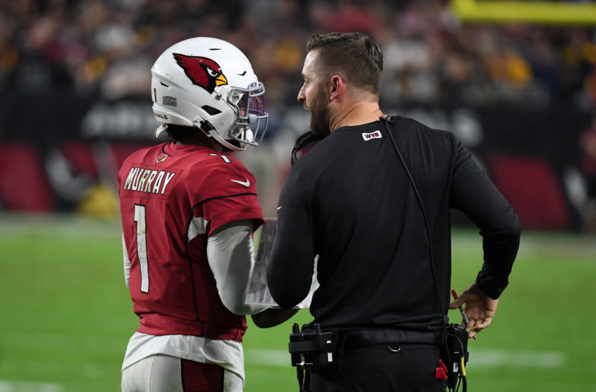 GLENDALE, ARIZONA - DECEMBER 08: Kyler Murray #1 of the Arizona Cardinals talks with head coach Kliff Kingsbury during a stop in play of a game against the Pittsburgh Steelers during the first half at State Farm Stadium on December 08, 2019 in Glendale, Arizona. (Photo by Norm Hall/Getty Images)