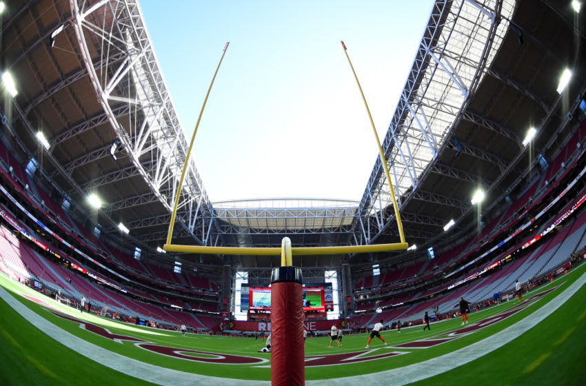 GLENDALE, ARIZONA - DECEMBER 15: A detail view of the goal post during pregame of a game between the Cleveland Browns and the Arizona Cardinals at State Farm Stadium on December 15, 2019 in Glendale, Arizona. (Photo by Norm Hall/Getty Images)