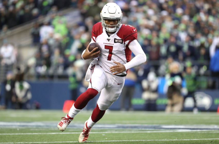 SEATTLE, WASHINGTON - DECEMBER 22: Brett Hundley #7 of the Arizona Cardinals runs with the ball in the third quarter against the Seattle Seahawks during their game at CenturyLink Field on December 22, 2019 in Seattle, Washington. (Photo by Abbie Parr/Getty Images)