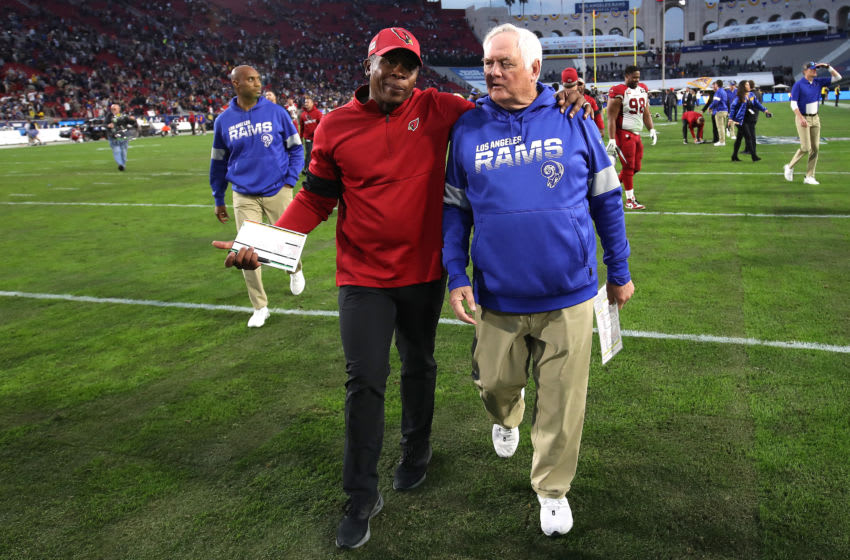LOS ANGELES, CALIFORNIA - DECEMBER 29: Defensive Coordinator Vance Joseph of the Arizona Cardinals walks off the field with defensive coordinator Wade Phillips of the Los Angeles Rams after a game at Los Angeles Memorial Coliseum on December 29, 2019 in Los Angeles, California. (Photo by Sean M. Haffey/Getty Images)