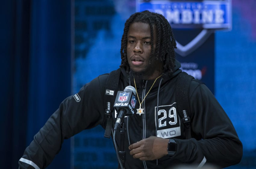 INDIANAPOLIS, IN - FEBRUARY 25: Jerry Jeudy #WO29 of the Alabama Crimson Tide speaks to the media at the Indiana Convention Center on February 25, 2020 in Indianapolis, Indiana. (Photo by Michael Hickey/Getty Images) *** Local Capture *** Jerry Jeudy