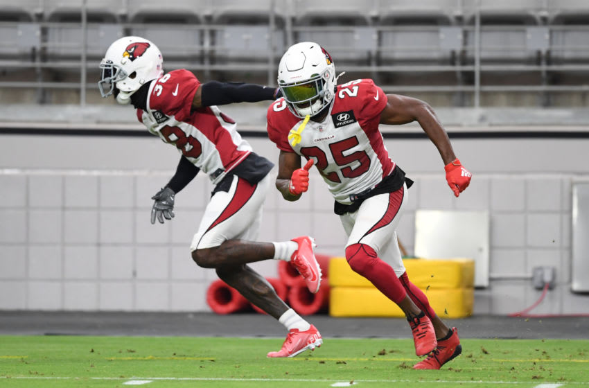 GLENDALE, ARIZONA - AUGUST 24: Chris Jones #25 of the Arizona Cardinals participates during training camp at State Farm Stadium on August 24, 2020 in Glendale, Arizona. (Photo by Norm Hall/Getty Images)