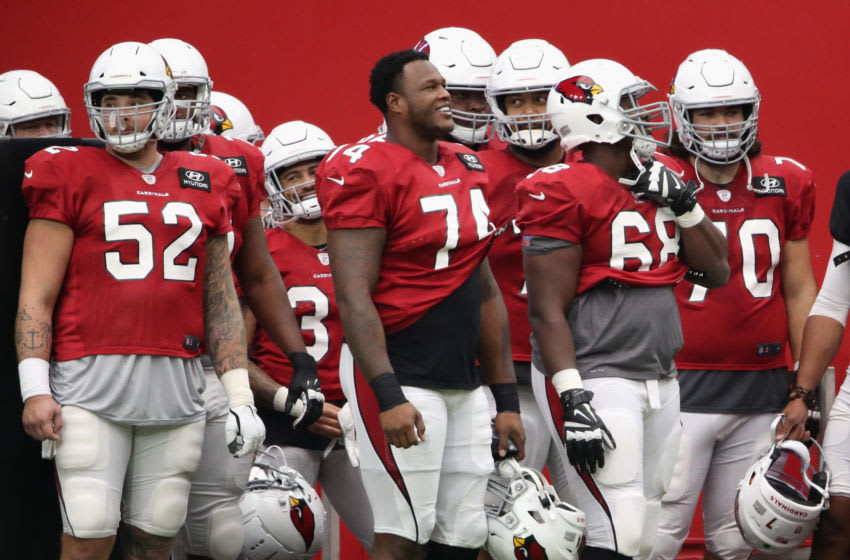 GLENDALE, ARIZONA - AUGUST 28: Offensive tackle D.J. Humphries #74 of the Arizona Cardinals stands with teammates during the Red & White Practice at State Farm Stadium on August 28, 2020 in Glendale, Arizona. (Photo by Christian Petersen/Getty Images)