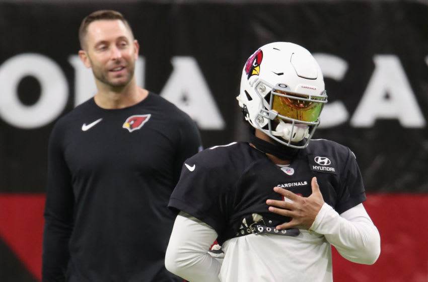 GLENDALE, ARIZONA - AUGUST 28: Quarterback Kyler Murray #1 of the Arizona Cardinals warms-up ahead of head coach Kliff Kingsbury during the Red & White Practice at State Farm Stadium on August 28, 2020 in Glendale, Arizona. (Photo by Christian Petersen/Getty Images)