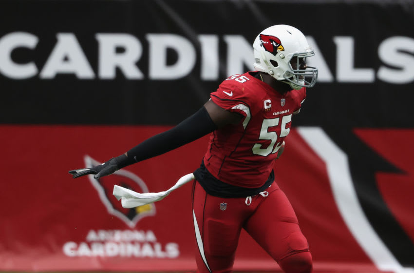 GLENDALE, ARIZONA - SEPTEMBER 20: Linebacker Chandler Jones #55 of the Arizona Cardinals celebrates after a turnover from the Washington Football Team during the first half of the NFL game at State Farm Stadium on September 20, 2020 in Glendale, Arizona. The Cardinals defeated the Washington Football Team 30-15. (Photo by Christian Petersen/Getty Images)