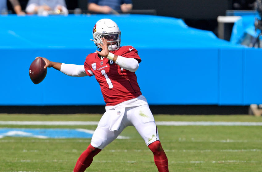 CHARLOTTE, NORTH CAROLINA - OCTOBER 04: Kyler Murray #1 of the Arizona Cardinals drops back to pass against the Carolina Panthers during the first quarter of their game at Bank of America Stadium on October 04, 2020 in Charlotte, North Carolina. (Photo by Grant Halverson/Getty Images)