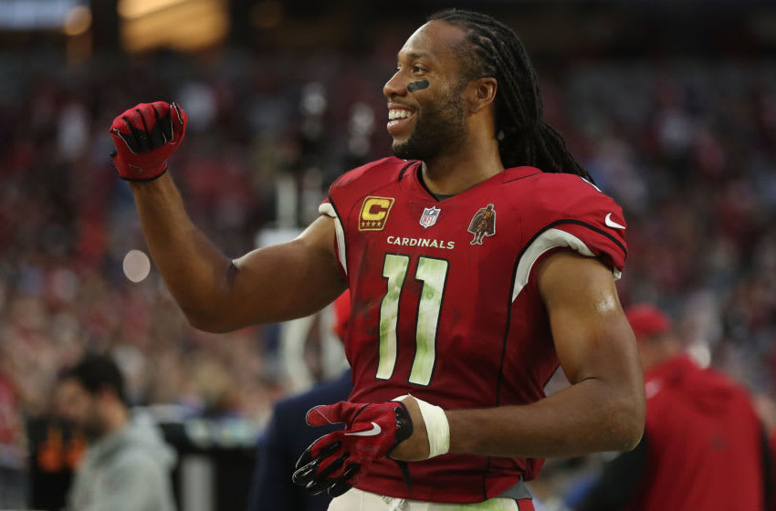 GLENDALE, AZ - DECEMBER 10: Larry Fitzgerald #11 of the Arizona Cardinals celebrates after the NFL game against the Tennessee Titans at University of Phoenix Stadium on December 10, 2017 in Glendale, Arizona. The Arizona Cardinals won 12 - 7. (Photo by Christian Petersen/Getty Images)