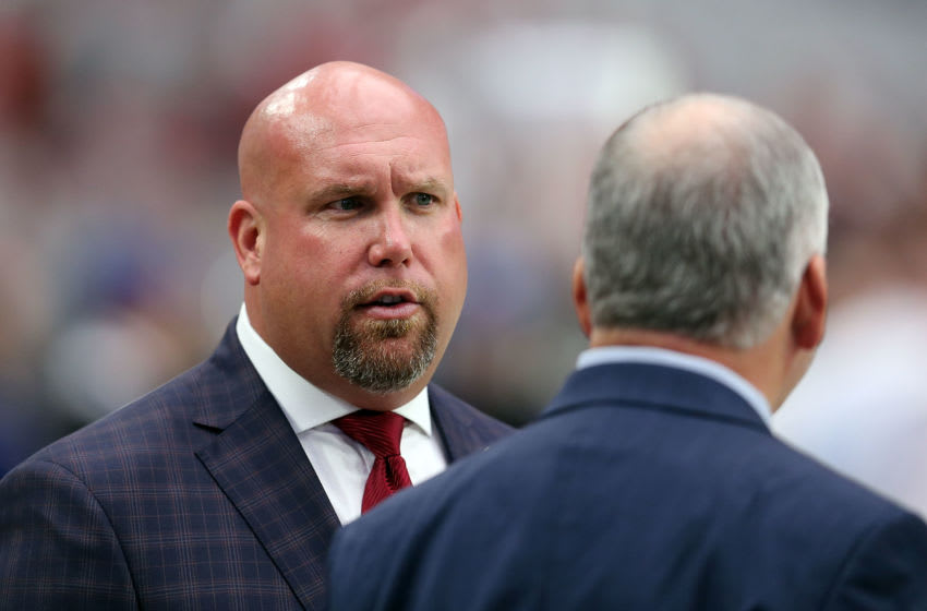 GLENDALE, AZ - NOVEMBER 13: General manager Steve Keim of the Arizona Cardinals talks on the sideline before the start of the NFL football game against the San Francisco 49ers at University of Phoenix Stadium on November 13, 2016 in Glendale, Arizona. The Cardinals beat the 49ers 23-20. (Photo by Chris Coduto/Getty Images)