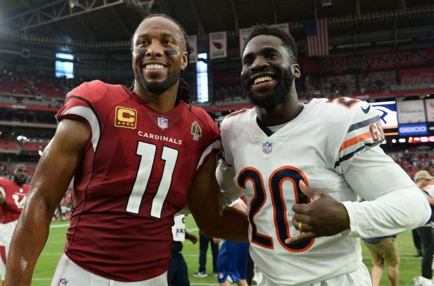 GLENDALE, AZ - SEPTEMBER 23: Wide receiver Larry Fitzgerald #11 of the Arizona Cardinals and defensive back Prince Amukamara #20 of the Chicago Bears pose for a photo after the NFL game at State Farm Stadium on September 23, 2018 in Glendale, Arizona. The Chicago Bears won 16-14. (Photo by Jennifer Stewart/Getty Images)