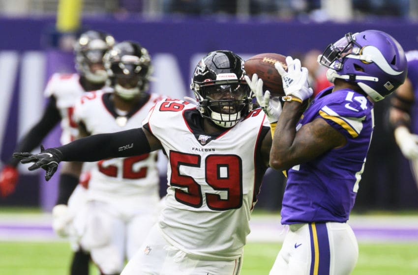 MINNEAPOLIS, MN - SEPTEMBER 8: Stefon Diggs #14 of the Minnesota Vikings catches the ball over defender De'Vondre Campbell #59 of the Atlanta Falcons in the third quarter of the game at U.S. Bank Stadium on September 8, 2019 in Minneapolis, Minnesota. (Photo by Stephen Maturen/Getty Images)