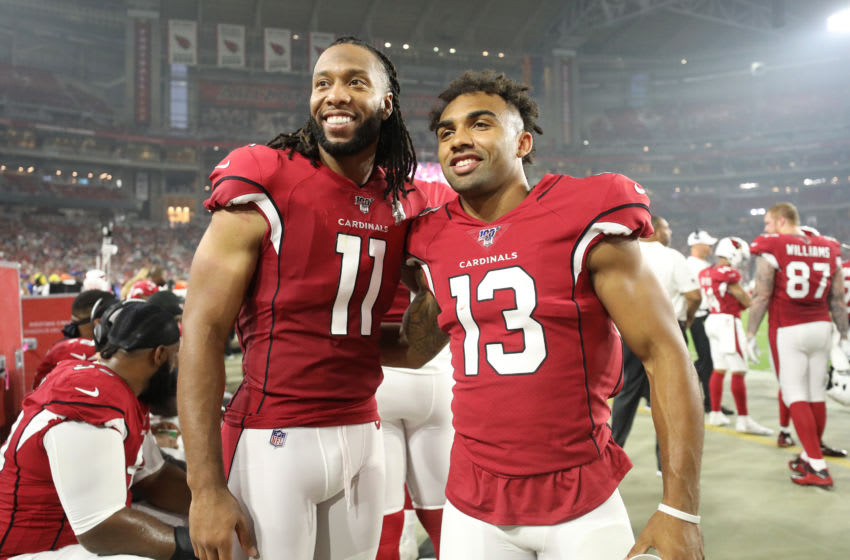 GLENDALE, ARIZONA - AUGUST 08: Larry Fitzgerald #11 and Christian Kirk #13 of the Arizona Cardinals pose for a picture during a preseason game against the Los Angeles Chargers at State Farm Stadium on August 08, 2019 in Glendale, Arizona. (Photo by Christian Petersen/Getty Images)