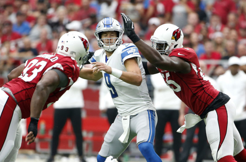 GLENDALE, ARIZONA - SEPTEMBER 08: Quarterback Matthew Stafford # 9 of the Detroit Lions is sacked by Chandler Jones #55 of the Arizona Cardinals during the first half of the NFL football game at State Farm Stadium on September 08, 2019 in Glendale, Arizona. (Photo by Ralph Freso/Getty Images)
