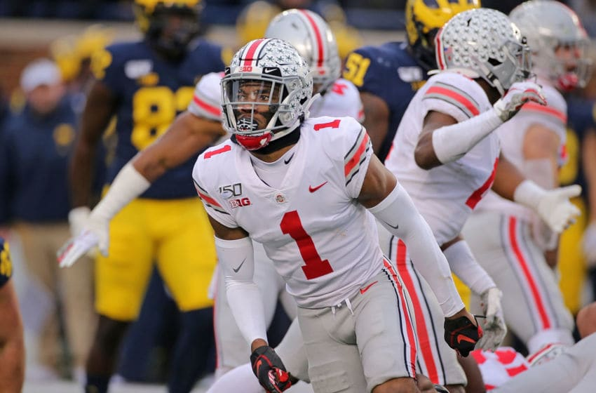 ANN ARBOR, MI - NOVEMBER 30: Jeff Okudah #1 of the Ohio State Buckeyes celebrates a fourth down strop during the fourth quarter of the game against the Michigan Wolverines at Michigan Stadium on November 30, 2019 in Ann Arbor, Michigan. Ohio State defeated Michigan 56-27. (Photo by Leon Halip/Getty Images)