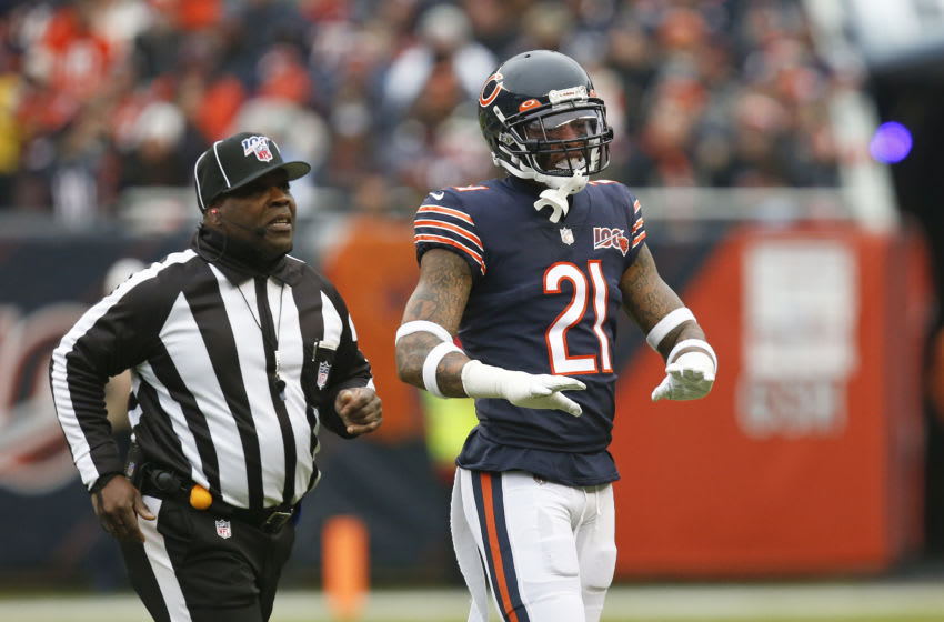 CHICAGO, ILLINOIS - NOVEMBER 10: Ha Ha Clinton-Dix #21 of the Chicago Bears reacts to a call during the game against the Detroit Lions at Soldier Field on November 10, 2019 in Chicago, Illinois. (Photo by Nuccio DiNuzzo/Getty Images)
