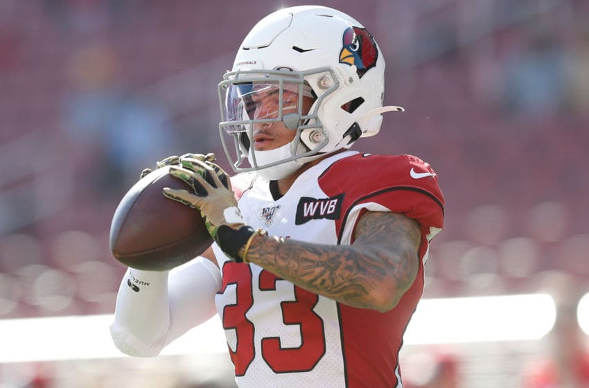 SANTA CLARA, CALIFORNIA - NOVEMBER 17: Cornerback Byron Murphy #33 of the Arizona Cardinals warms up before the game against the San Francisco 49ers at Levi's Stadium on November 17, 2019 in Santa Clara, California. (Photo by Lachlan Cunningham/Getty Images)