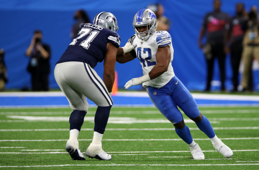 DETROIT, MI - NOVEMBER 17: Devon Kennard #42 of the Detroit Lions in action during the game against the Dallas Cowboys at Ford Field on November 17, 2019 in Detroit, Michigan. The Cowboys defeated the Lions 35-27. (Photo by Rob Leiter/Getty Images)