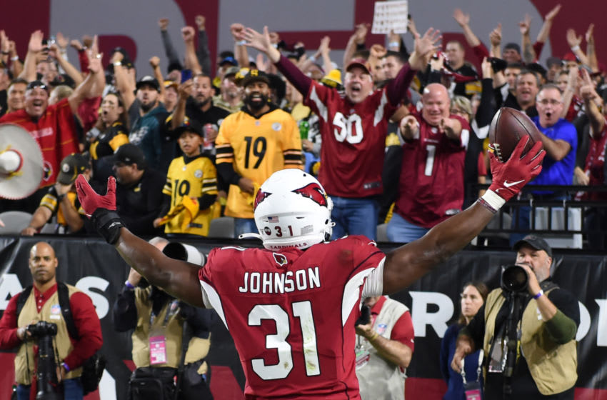 GLENDALE, ARIZONA - DECEMBER 08: David Johnson #31 of the Arizona Cardinals celebrates after scoring a touchdown against the Pittsburgh Steelers during the second half at State Farm Stadium on December 08, 2019 in Glendale, Arizona. Pittsburgh won 23-17. (Photo by Norm Hall/Getty Images)
