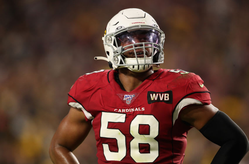 GLENDALE, ARIZONA - DECEMBER 08: Linebacker Jordan Hicks #58 of the Arizona Cardinals during the second half of the NFL game against the Pittsburgh Steelers at State Farm Stadium on December 08, 2019 in Glendale, Arizona. The Steelers defeated the Cardinals 23-17. (Photo by Christian Petersen/Getty Images)