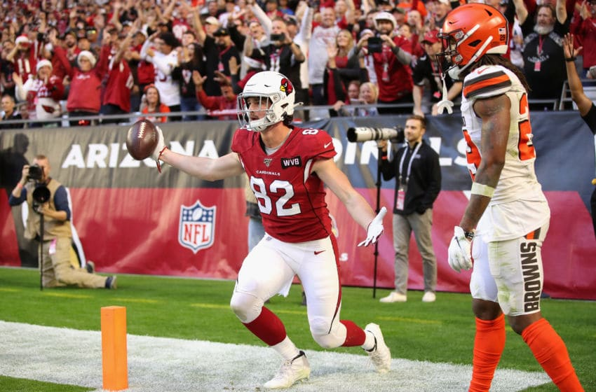 GLENDALE, ARIZONA - DECEMBER 15: Tight end Dan Arnold #82 of the Arizona Cardinals reacts after catching a six yard touchdown reception against defensive back Sheldrick Redwine #29 of the Cleveland Browns during the first half of the NFL game at State Farm Stadium on December 15, 2019 in Glendale, Arizona. (Photo by Christian Petersen/Getty Images)