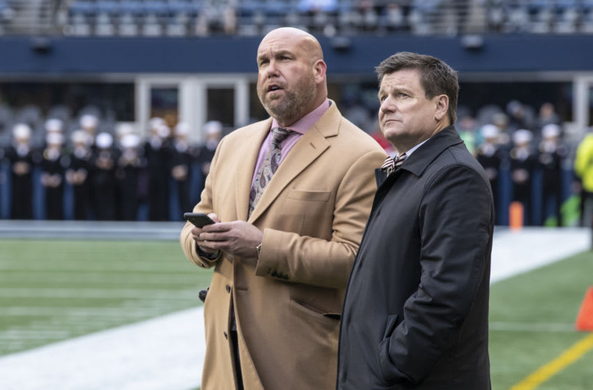 SEATTLE, WA - DECEMBER 22: Arizona Cardinals general manager Steve Keim (L) and owner Michael Bidwell stand on the sidlines during warmups before game between the Arizona Cardinals and the Seattle Seahawks at CenturyLink Field on December 22, 2019 in Seattle, Washington. The Cardinals won 27-13. (Photo by Stephen Brashear/Getty Images)