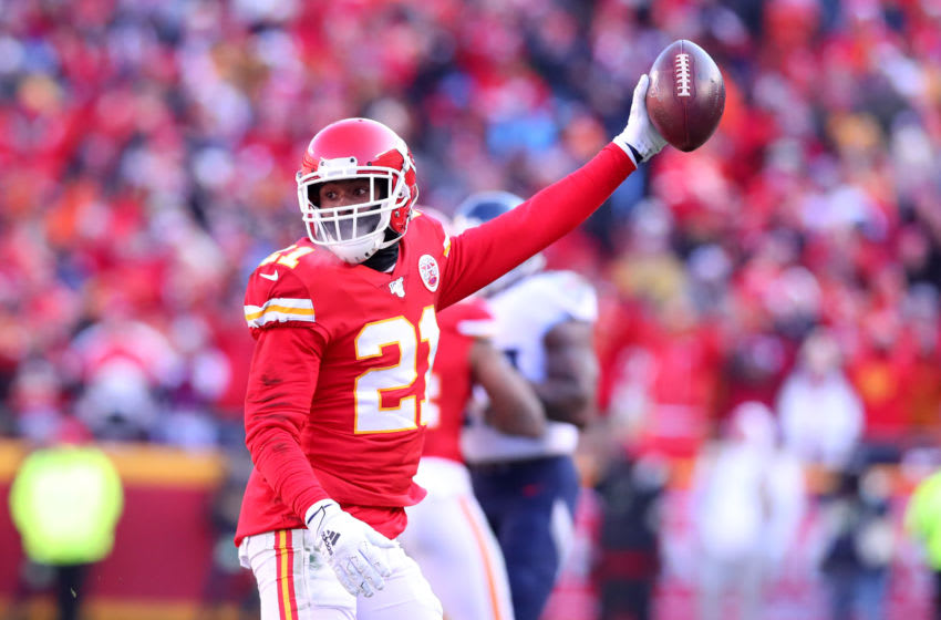 KANSAS CITY, MISSOURI - JANUARY 19: Bashaud Breeland #21 of the Kansas City Chiefs reacts after a possible interception later ruled an incomplete pass in the first quarter against the Tennessee Titans in the AFC Championship Game at Arrowhead Stadium on January 19, 2020 in Kansas City, Missouri. (Photo by Tom Pennington/Getty Images)