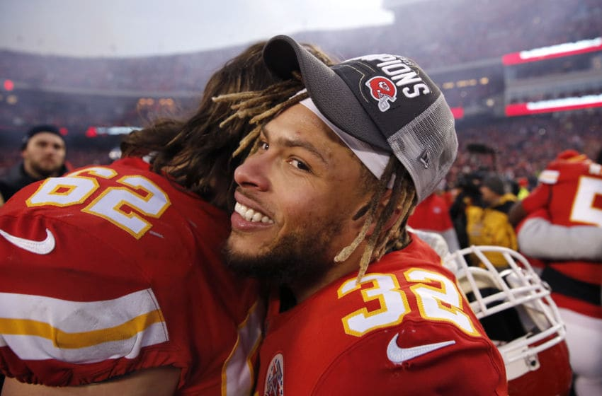KANSAS CITY, MISSOURI - JANUARY 19: Tyrann Mathieu #32 of the Kansas City Chiefs reacts after defeating the Tennessee Titans in the AFC Championship Game at Arrowhead Stadium on January 19, 2020 in Kansas City, Missouri. The Chiefs defeated the Titans 35-24. (Photo by David Eulitt/Getty Images)