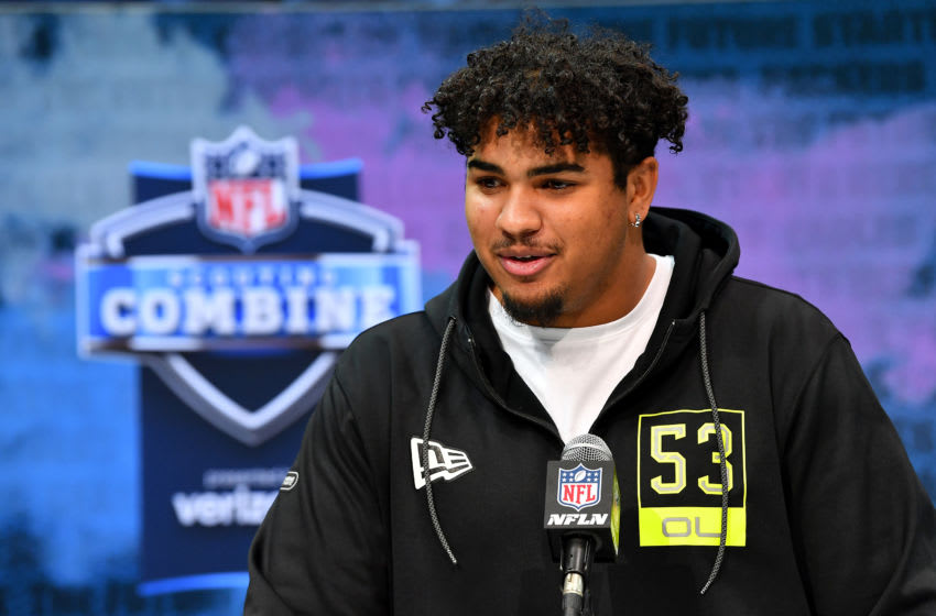 INDIANAPOLIS, INDIANA - FEBRUARY 26: Tristan Wirfs #OL53 of Iowa interviews during the second day of the 2020 NFL Scouting Combine at Lucas Oil Stadium on February 26, 2020 in Indianapolis, Indiana. (Photo by Alika Jenner/Getty Images)