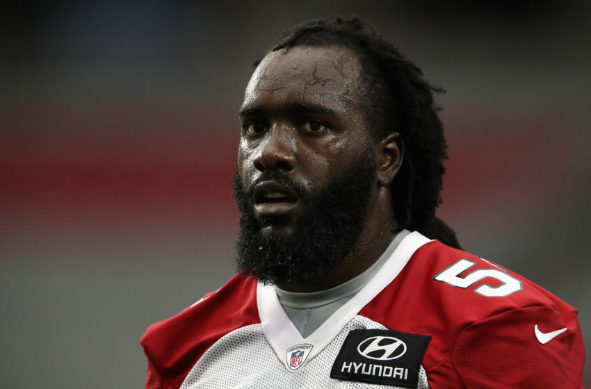 GLENDALE, ARIZONA - AUGUST 12: Linebacker De'Vondre Campbell #59 of the Arizona Cardinals looks on during a team training camp at State Farm Stadium on August 12, 2020 in Glendale, Arizona. (Photo by Christian Petersen/Getty Images)