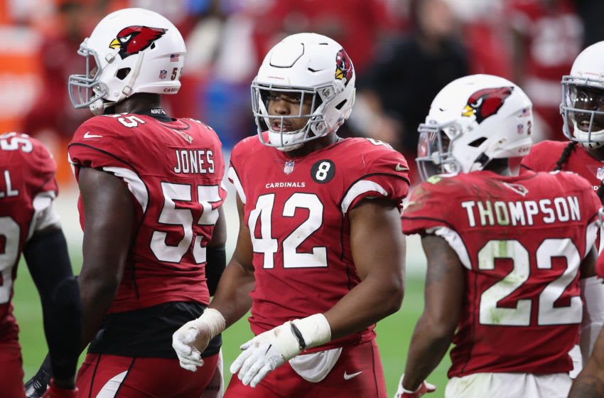 GLENDALE, ARIZONA - SEPTEMBER 27: Outside linebacker Devon Kennard #42 of the Arizona Cardinals in the NFL game against the Detroit Lions at State Farm Stadium on September 27, 2020 in Glendale, Arizona. The Lions defeated the Cardinals 26-23. (Photo by Christian Petersen/Getty Images)