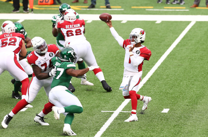 EAST RUTHERFORD, NEW JERSEY - OCTOBER 11: Kyler Murray #1 of the Arizona Cardinals passes the ball against the New York Jets at MetLife Stadium on October 11, 2020 in East Rutherford, New Jersey. Arizona Cardinals defeated the New York Jets 30-10. (Photo by Mike Stobe/Getty Images)